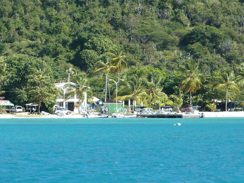 View of Cool Breeze Sports Bar and Restaurant from Great Harbour, Jost Van Dyke, JVD, BVI